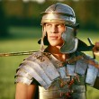 One Brave Roman soldier in field. - 图库照片