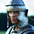 Roman soldiers. Close-up face. - Stock Photo