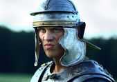 Roman soldiers. Close-up face. — Stock Photo