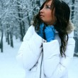 Winter Girl with beautiful make up. — Stock Photo