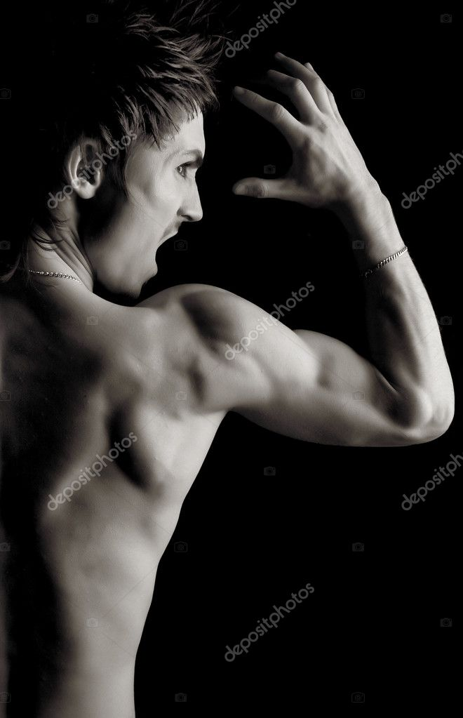 Young Bodybuilder training- Black and white photo. — Stock Photo #1274062