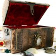 Chest with treasures — Stock Photo