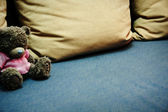 Sofa with Teddy bear — Stok fotoğraf