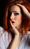 Sexy redhead young woman — Stock Photo