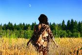 Beautiful young black hair woman — Stockfoto