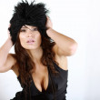 Beautiful girl with black hat. — Stock Photo #1656296