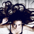 Beautiful model with chaos from hair — Stock Photo #1658996