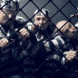 Three prisoners. - Stock Photo