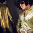 Man in Elvis Preslej's suit. — Stock Photo