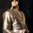Man in Elvis Preslej's suit. - Stock Photo