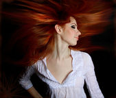 Pretty redhead young woman — Foto Stock