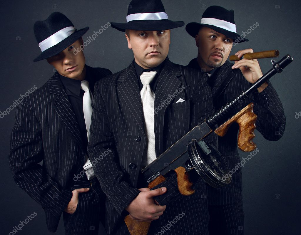 Three gangsters. Gangster gang Photo.  Stock Photo #1660488