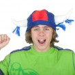 Happy teenager in a fan helmet — Stock Photo #1236090