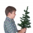 Boy holds in a hand a Christmas fur-tree — Stock Photo