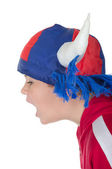 Little boy in a fan helmet — Stock Photo
