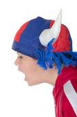 Little boy in a fan helmet — Stock Photo
