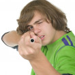 Teenager with a pipe — Stock Photo
