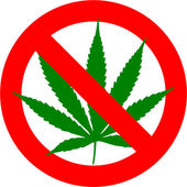 No cannabis sign isolated over white background — Stock Photo