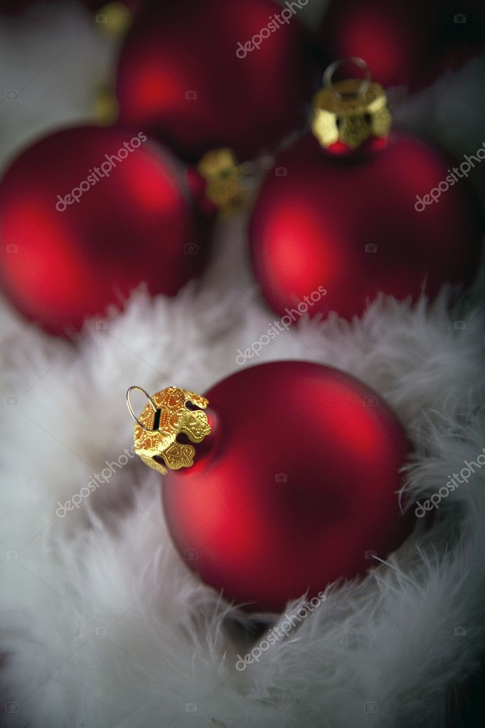 Red christmas baubles — Stock Photo #1579295