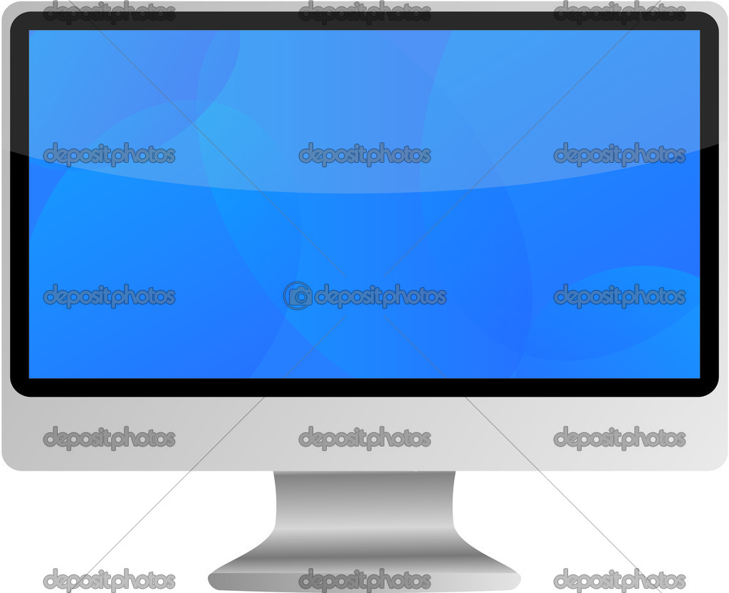 Wide Screen LCD (liquid-crystal display) computer monitor with blue screen. Isolated on white background. — Stock Vector #1597158