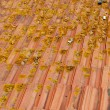 Old and dirty roof tiles (sideview) - Stock Photo