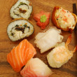 Complete sushi meal with nigiris and rol - Stock Photo