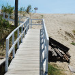 White boardwalk to local beach — Stock Photo
