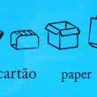 Paper recycle symbols in different langu — Stock Photo