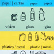 Recycle symbols (different languages) — Stock Photo