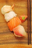 Nigiris sushi meal (salmon, swordfish, s — Stock Photo