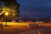 Lisbon bridge - April 25th (night scene) — Stock Photo