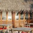 Beach restaurant view in Maldives (ocean — Stock Photo