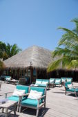 Beautiful beach restaurant view in Maldi — Stock Photo