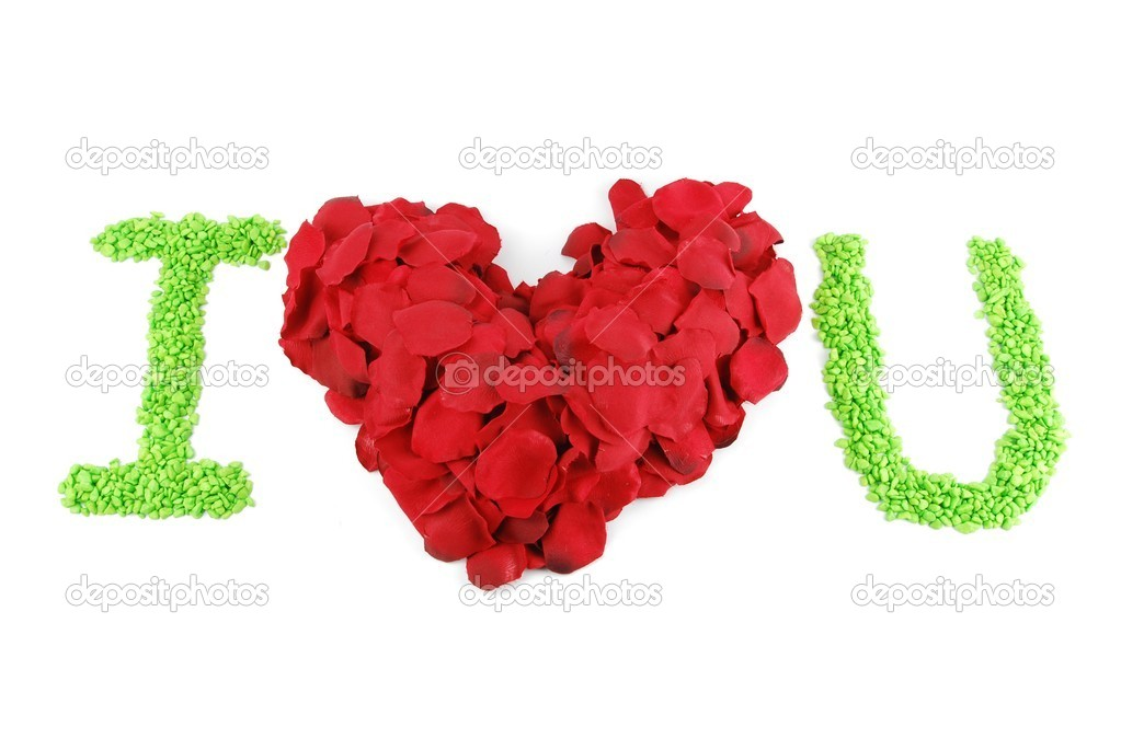 I LOVE U with a beaufiful red heart made of rose petals (isolated on white background)  Foto Stock #1878660