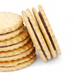 Chocolate cookies stack on white - Stock Photo
