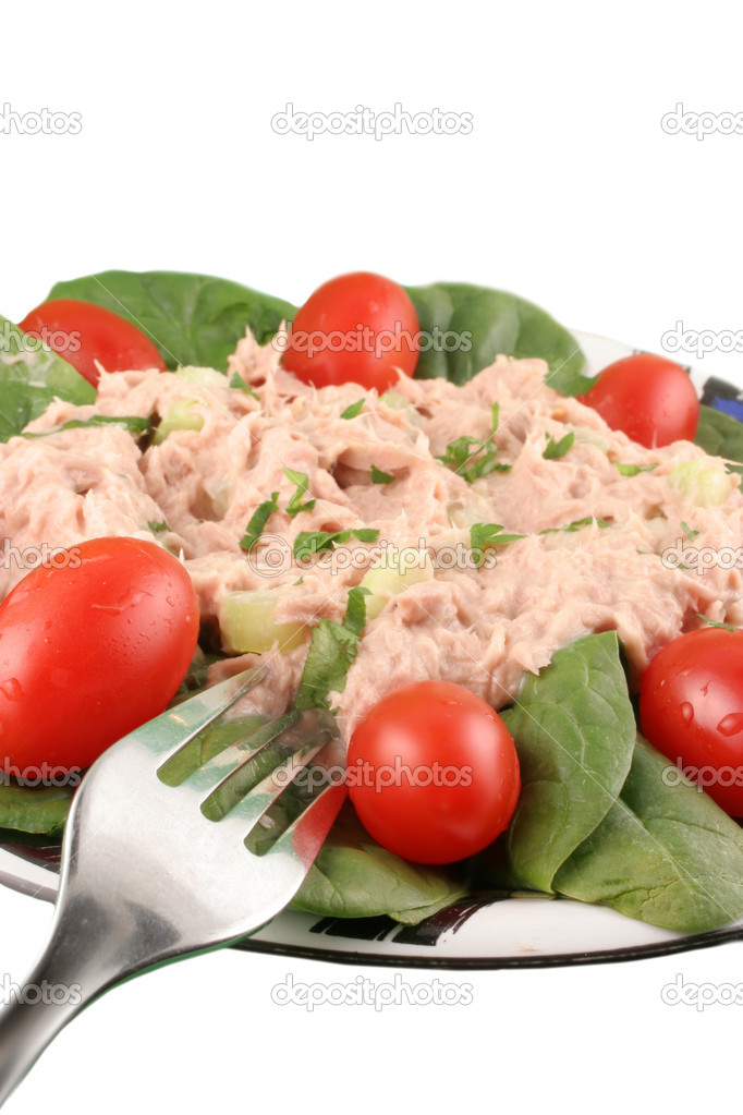 Healthy meal of tuna fish salad with cherry tomatoes and spinach on a white background — Stock Photo #1969540
