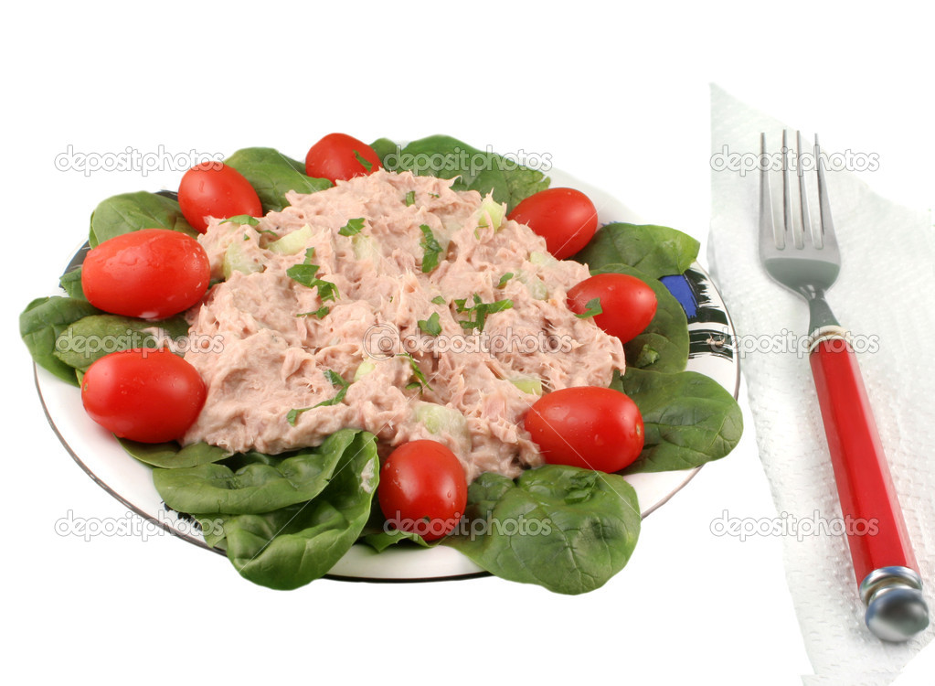 Healthy meal of tuna fish salad with cherry tomatoes and spinach on a white background  Stock Photo #1969544