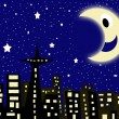 Starry city night - Stock Photo