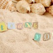 Thank you on sand — Stock Photo #1970854