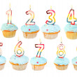 Birthday cupcake birthday set — Stock Photo