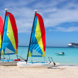 Tropical beach boats and ship — Foto Stock #1972185