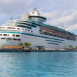 Cruise ship in Nassau harbour - Stock Photo