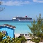 colorido cabana na praia tropical — Foto Stock