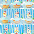 Birthday number cupcakes — 图库照片