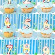 Stock Photo: Birthday number cupcakes