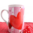 Valentine mug and heart - Stock Photo