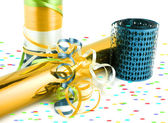 Colorful gift wrapping and ribbons — Stock Photo