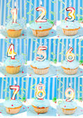 День рождения кексы и номер — Стоковое фото