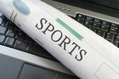 Sports section on laptop — Stock Photo