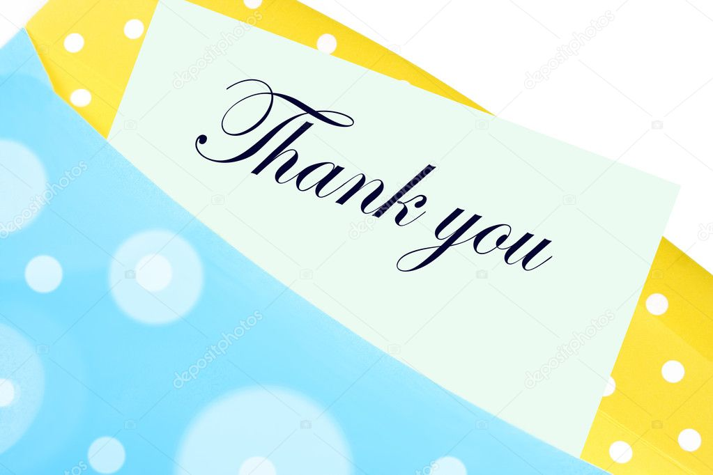 Thank you note or letter in yellow and blue polkadot envelope — Stock Photo #1970916